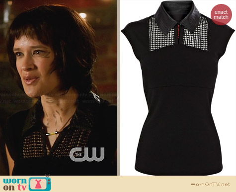 Karen Millen Faux Leather Collar Top worn by Brina Palencia on Star-Crossed
