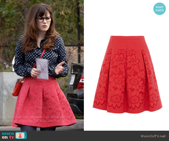 Karen Millen Floral Border Jacquard Skirt worn by Jessica Day on New Girl