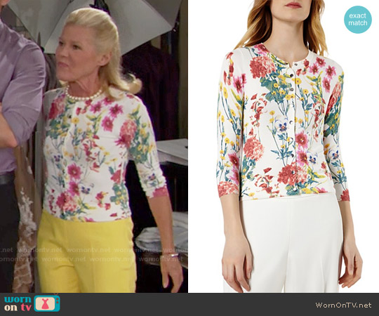 Karen Millen Floral Print Cardigan worn by Alley Mills on The Bold & the Beautiful