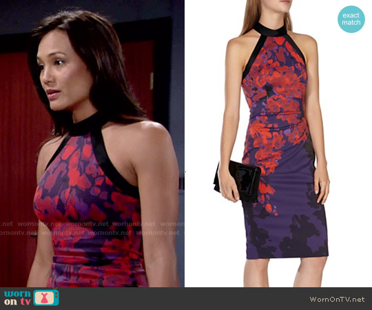 Karen Millen Floral Print Dress worn by Nadine Nicole on The Young & the Restless