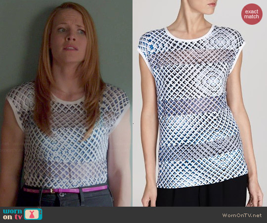 Karen Millen Geometric Print Tee worn by Katie Leclerc on Switched at Birth