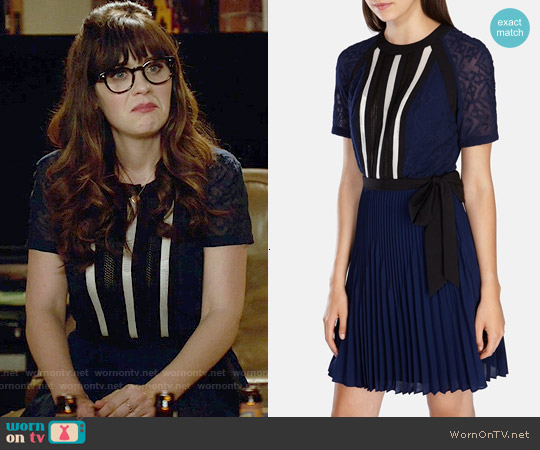 Karen Millen Graphic Lace Insert Pleat Dress worn by Zooey Deschanel on New Girl
