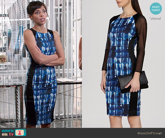 Karen Millen Graphic Mark Making Print Stretch Dress worn by Tamara Taylor on Bones