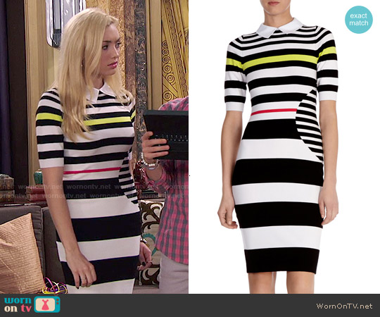 Karen Millen Graphic Stripe Knit Dress worn by Peyton List on Jessie