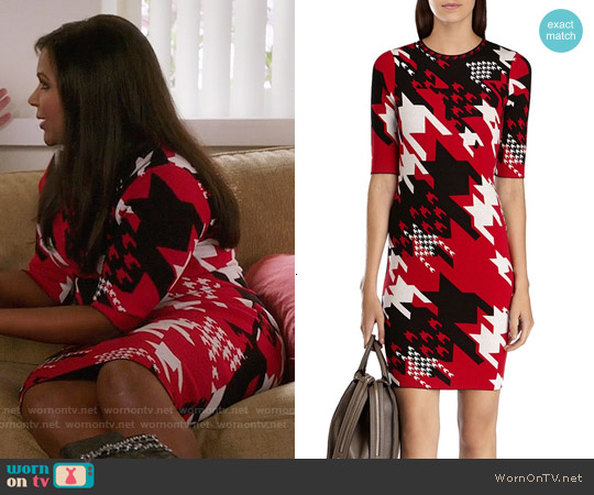 Karen Millen Check Knitted Dress worn by Mindy Kaling on The Mindy Project
