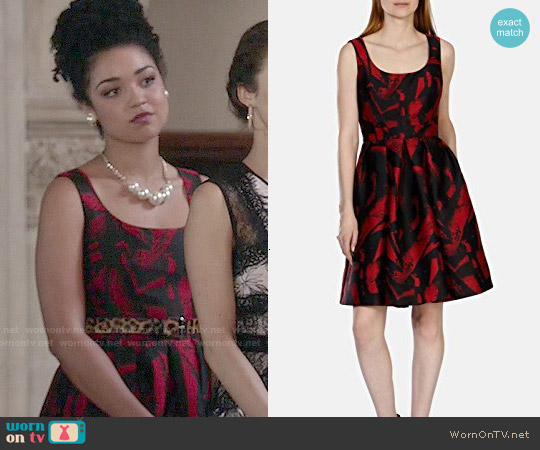 Karen Millen Jacquard Full Skirted Dress worn by Aisha Dee on Chasing Life