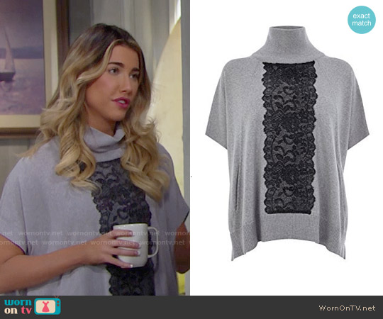 Karen Millen Lace Detail Poncho worn by Jacqueline MacInnes Wood on The Bold & the Beautiful