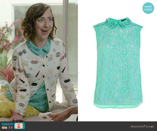 Karen Millen Lace Top with Hand Embellished Collar worn by Kristen Schaal on Last Man On Earth