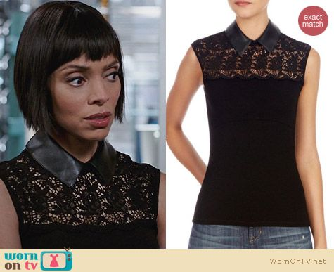 Karen Millen Lace Tshirt with Faux Leather worn by Tamara Taylor on Bones