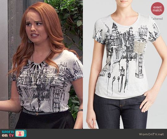 Karen Millen London Print Tee worn by Debby Ryan on Jessie