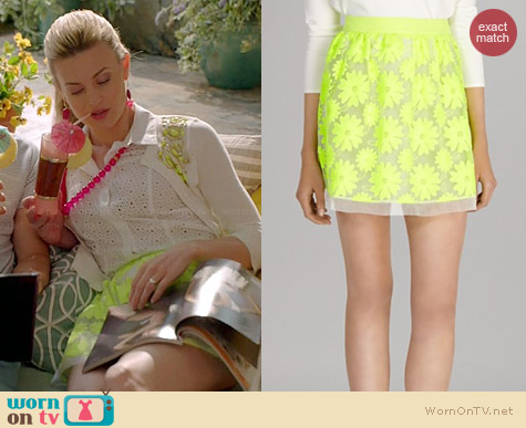 Karen Millen Neon Floral Lace Skirt worn by Brooke D'Orsay on Royal Pains
