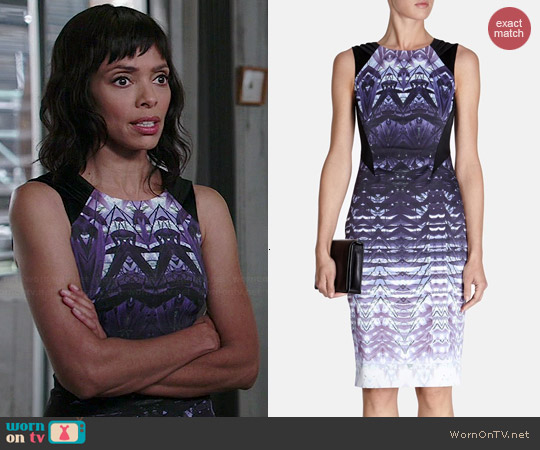 Karen Millen Ombre Lace Print Signature Stretch Dress worn by Tamara Taylor on Bones