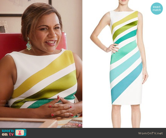 Karen Millen Ombre Stripe Dress worn by Mindy Kaling on The Mindy Project