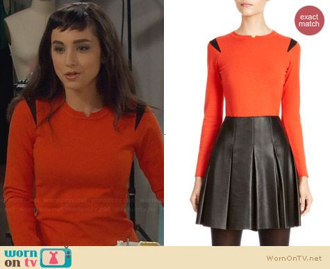 Karen Millen Orange Knit with Shoulder Mesh worn by Molly Ephraim on Last Man Standing
