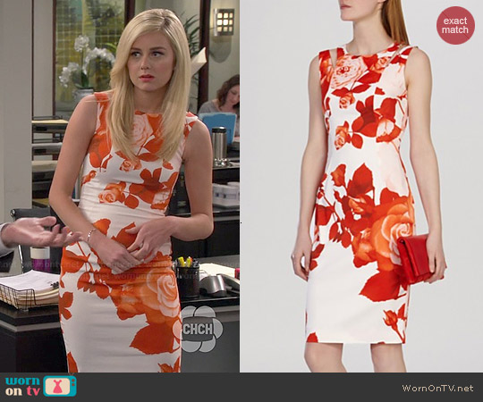 Karen Millen Oversized Placed Floral Print Dress worn by Justine Lupe on Cristela