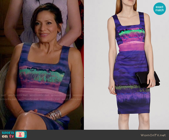 Karen Millen Painterly Stripe Dress worn by Constance Marie on Switched at Birth