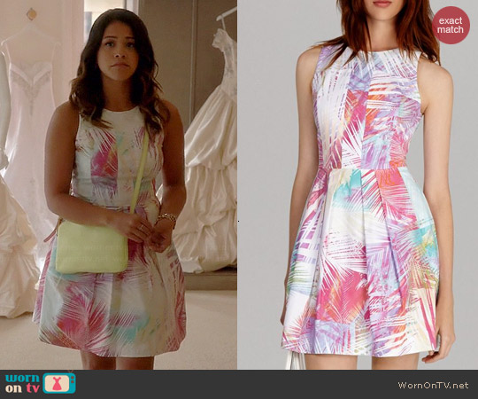 Karen Millen Palm Print Collection Skater Dress worn by Gina Rodriguez on Jane the Virgin