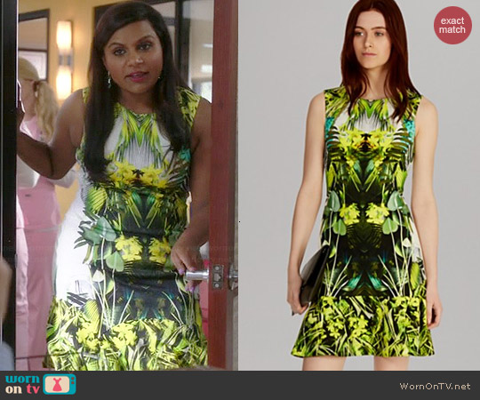 Karen Millen Photographic Jungle Print Dress worn by Mindy Kaling on The Mindy Project