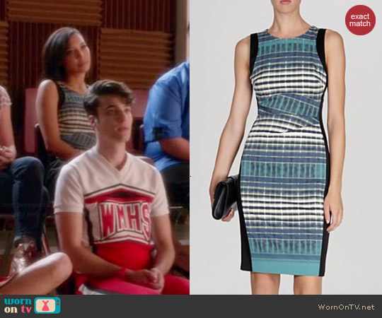 Karen Millen Plaid Print Signature Stretch Dress worn by Naya Rivera on Glee