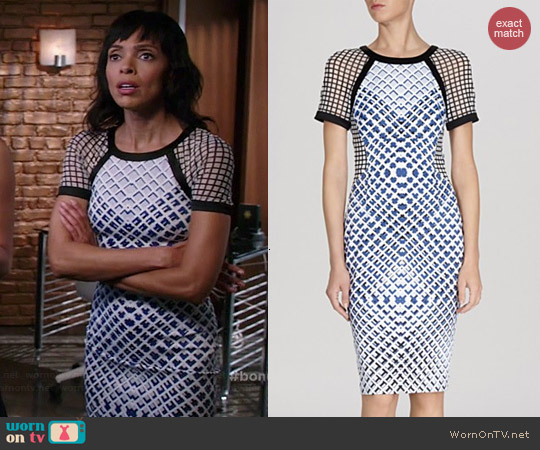Karen Millen Printed Signature Stretch Dress worn by Tamara Taylor on Bones