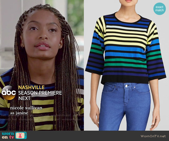 Karen Millen Rainbow Stripe Top worn by Yara Shahidi on Blackish
