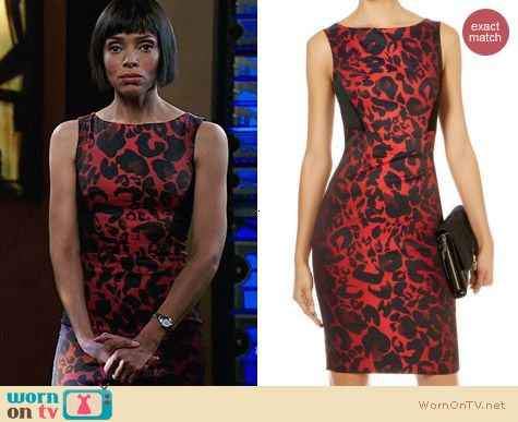 Karen Millen Red Colorful Leopard Dress worn by Tamara Taylor on Bones