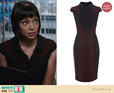 Karen Millen Red Graphic Stripe Suit Dress worn by Tamara Taylor on Bones