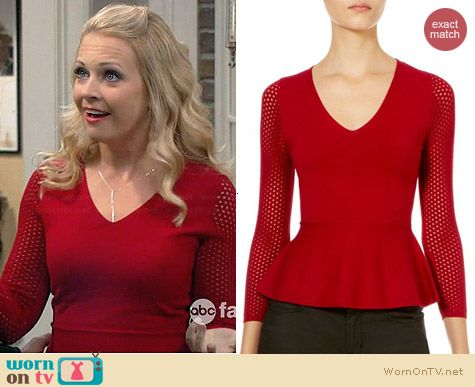 Karen Millen Mesh Open Stitch Knit Sweater worn by Melissa Joan Hart on Melissa & Joey