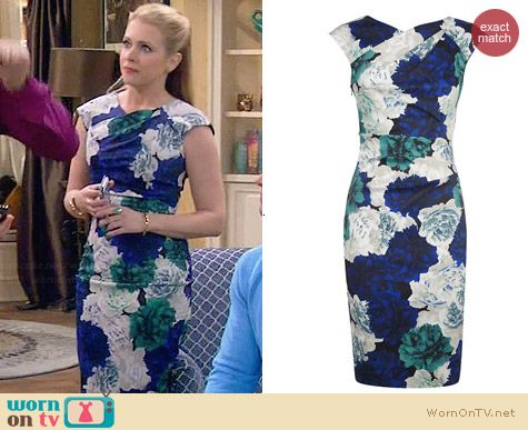 Karen Millen Rose Print Dress worn by Melissa Joan Hart on Melissa & Joey