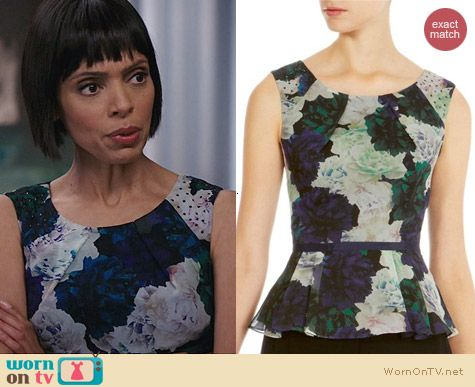 Karen Millen Rose Print Peplum Top worn by Tamara Taylor on Bones