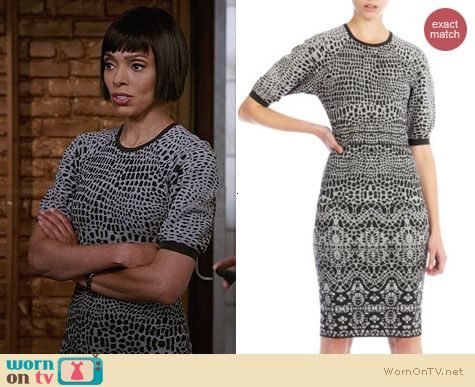 Karen Millen Rounded Shoulder Knit Dress worn by Tamara Taylor on Bones