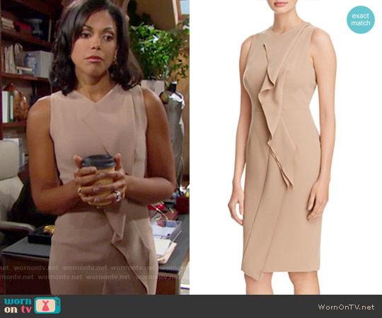 Karen Millen Ruffle Dress worn by Karla Mosley on The Bold & the Beautiful