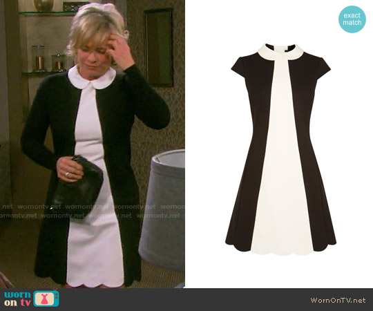 Karen Millen Scalloped Mini Dress worn by Mary Beth Evans on Days of our Lives