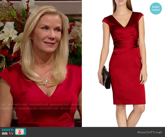 Karen Millen Signature Satin Dress worn by Katherine Kelly Lang on The Bold & the Beautiful