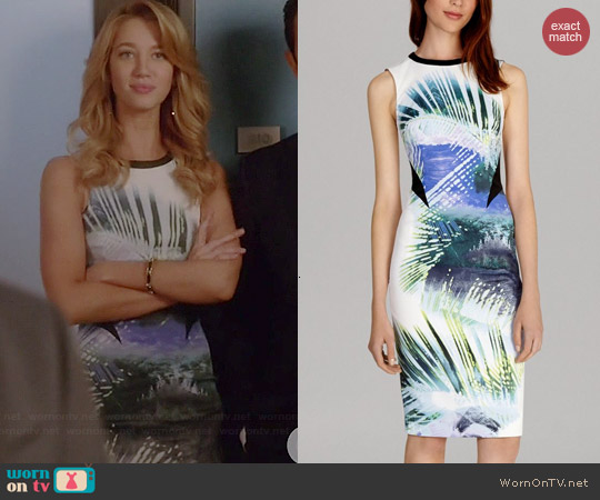 Karen Millen Signature Stretch Palm Print Dress worn by Yael Grobglas on Jane the Virgin