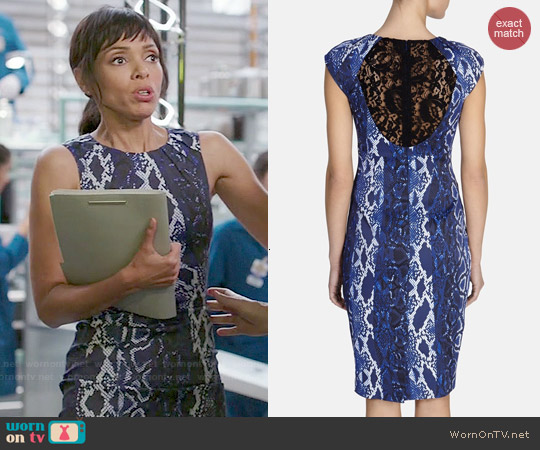 Karen Millen Snake Print Signature Stretch Dress worn by Tamara Taylor on Bones