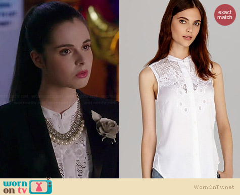 Karen Millen Soft Broderie Shirt worn by Vanessa Marano on Switched at Birth