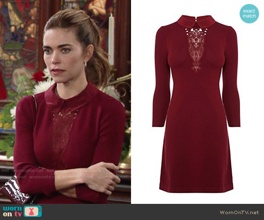 Karen Millen Signature Stretch Dress with Collar and Lace worn by Amelia Heinle on The Young & the Restless