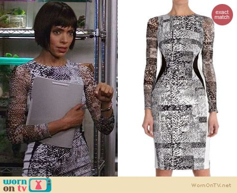 Karen Millen Stretch Texture Print Dress worn by Tamara Taylor on Bones