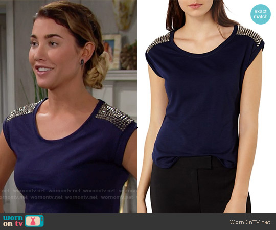 Karen Millen Studded Tee worn by Jacqueline MacInnes Wood on The Bold & the Beautiful