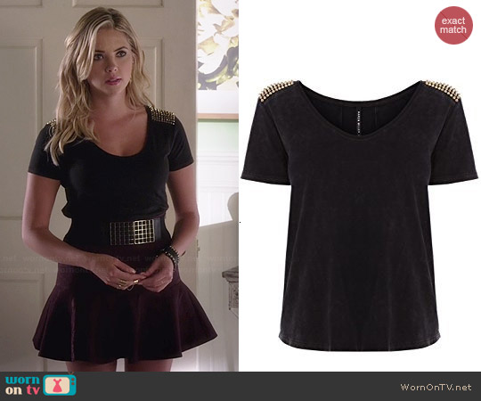 Karen Millen Acid Wash Jersey Tshirt worn by Ashley Benson on PLL