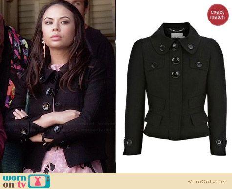 Karen Millen Tailored Shot Black Jacket worn by Janel Parrish on PLL