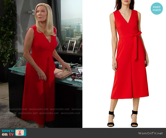 Karen Millen Wide-Leg Belted Jumpsuit worn by Katherine Kelly Lang on The Bold & the Beautiful