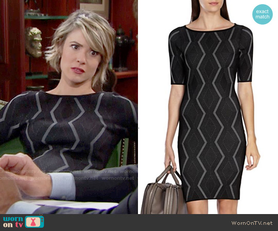 Karen Millen Zig Zag Bandage Dress worn by Linsey Godfrey on The Bold & the Beautiful