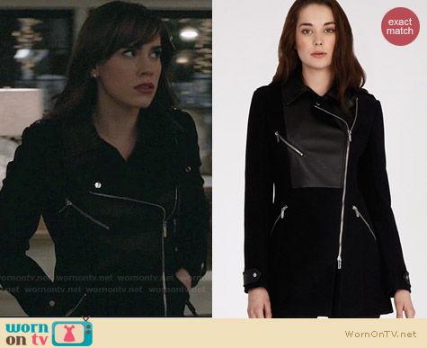 Karen Millen Coat with Zip Detail and Leather Look Panels worn by Christa Allen on Revenge