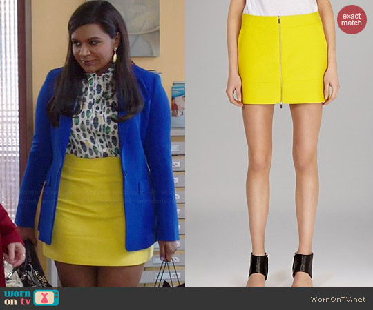 Karen Millen Texture Zip Front Skirt worn by Mindy Kaling on The Mindy Project