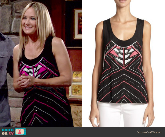 Karina Grimaldi Helina Beaded Silk Tank Top worn by Sharon Case on The Young & the Restless