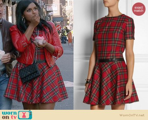 Karl Lagerfeld Penny Faux Leather Trimmed Tartan Dress worn by Mindy Kaling on The Mindy Project