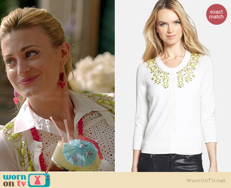 Kate Spade Arcadia Embellished Cardigan worn by Brooke D'Orsay on Royal Pains