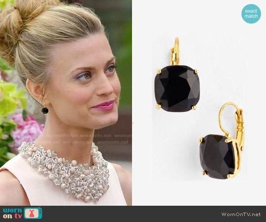 Kate Spade Black Drop Earrings worn by Paige Collins on Royal Pains